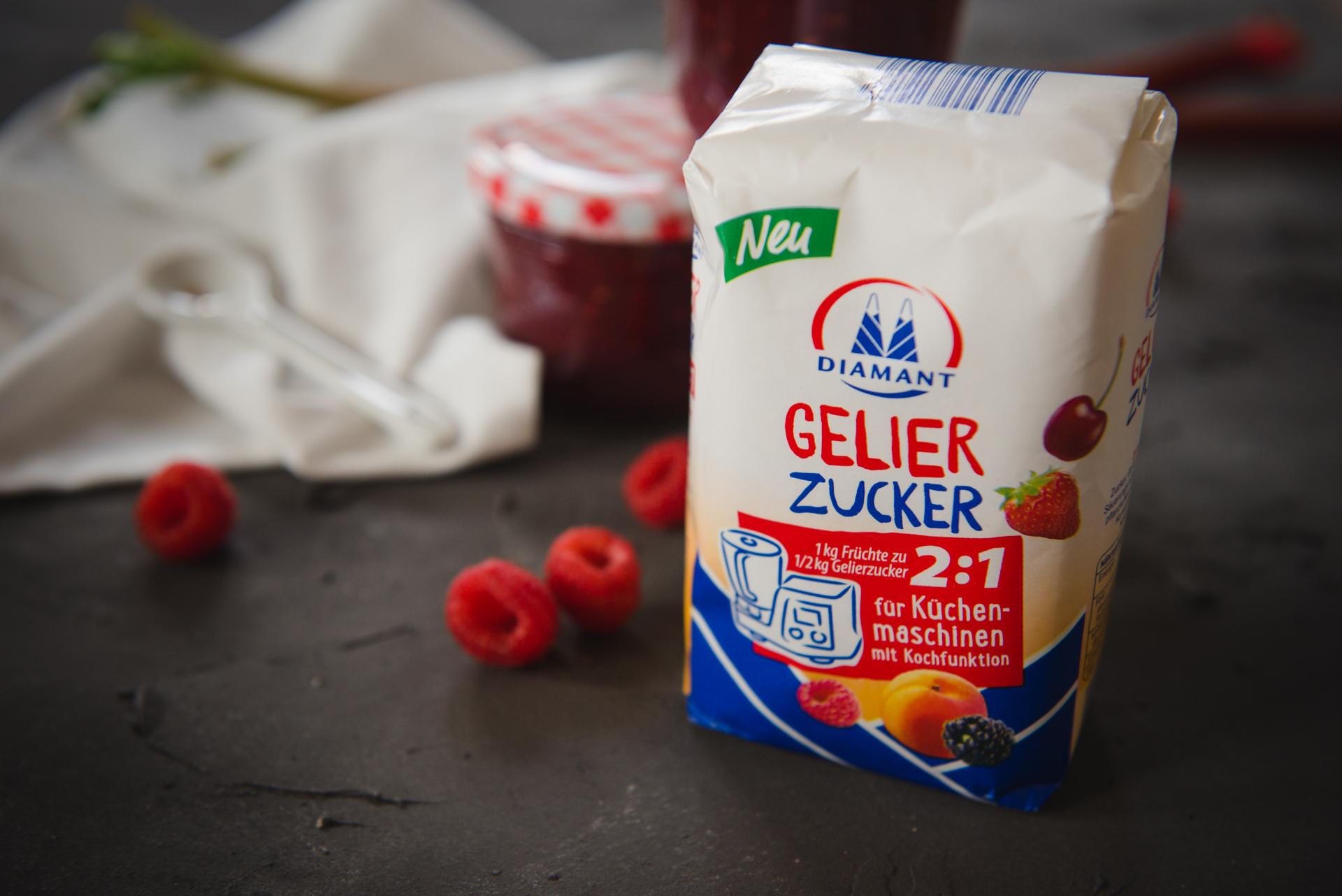 Himbeer-Rhabarber Marmelade mit Diamant Gelierzucker für ...